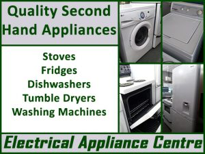 Quality Second Hand Appliances in George Quality Second Hand Appliances in George A selection of quality second hand appliances is available from Electrical Appliance Centre in George. This includes fridges, washing machines, dishwashers, stoves and more. All electrical appliances are sold with a 6 month warranty. They receive new stock on a regular base.