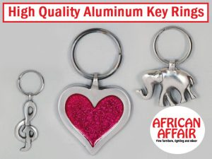 Suppliers of Aluminum Key Rings in South Africa High Quality Aluminum Key Rings in South Africa At African Affair you will find high quality aluminum key rings in different shapes and sizes. These imported key rings are available from their shop in Sedgefield. Shop owners are also welcome to contact African Affair, the suppliers, to buy these lovely key rings at wholesale prices! Contact African Affair or visit their website for more information and to place your order!