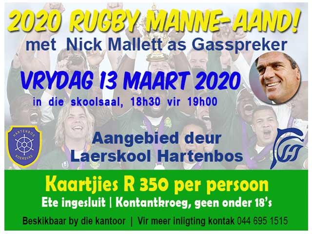 Rugby Manne-aand 2020 met Nick Mallett