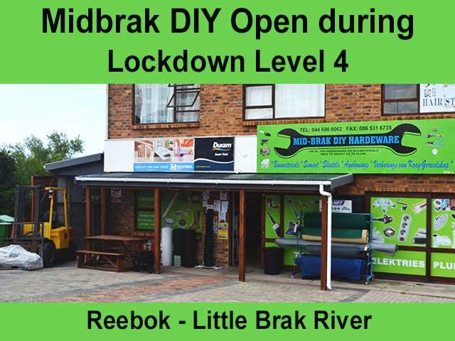 Midbrak DIY now Open Trading during Lockdown Level 4