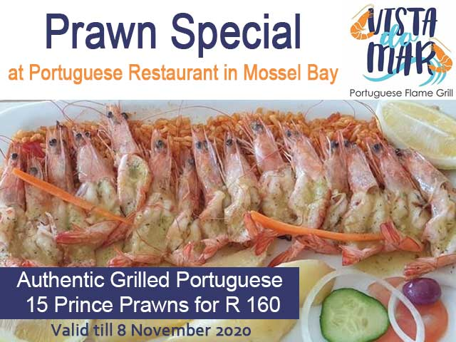 Prawn Special at Portuguese Restaurant in Mossel Bay