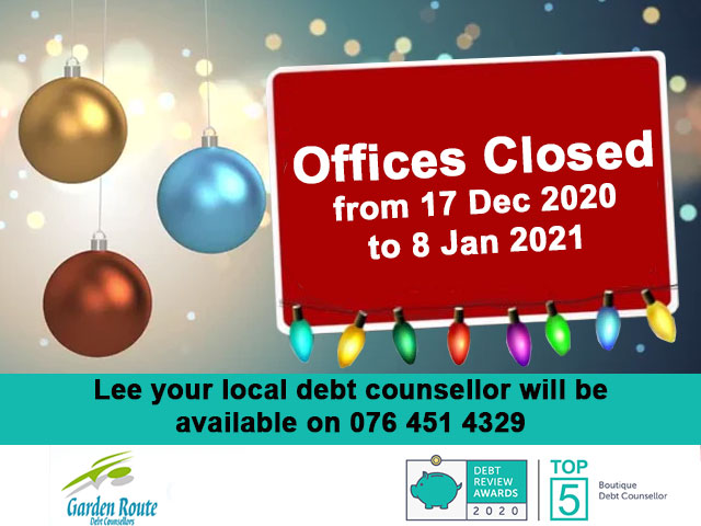 Garden Route Debt Offices Closed for Festive Season